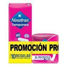 Tampón NOSOTRAS regular sin aplicador x10 unds + protectores multiestilo x15 unds