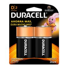 Pila DURACELL alcalina durapack tipo D x2 unds