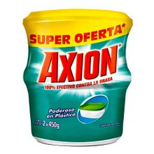 Oferta lavaplatos AXION poderoso en plástico 2 unds x450 g c/u
