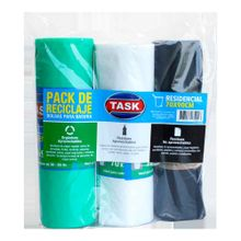 Pack completo reciclaje bolsa basura TASK 3 colores 70X90 30 unds