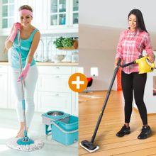 Combo: Limpiador a Vapor 15 en 1 + Giratorio 360 Stainless mop Energy Plus
