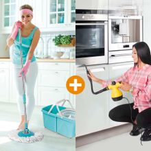 Combo: Limpiador a Vapor + Giratorio 360 doble cubeta Energy Plus - Envío gratis